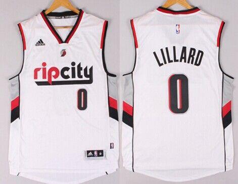 hot sale online 2a3d9 23d1c damian lillard white rip city jersey