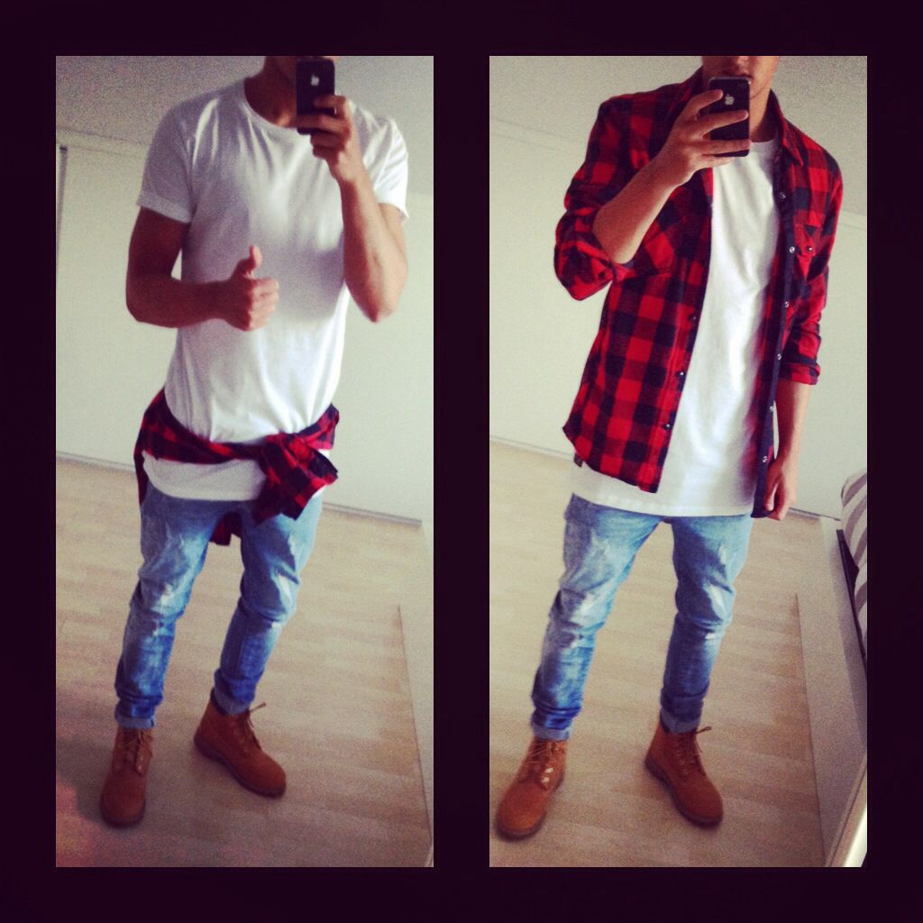 Red flannel outfit guys  Outfit oversized white tee  jumberjack shirt  timberlands