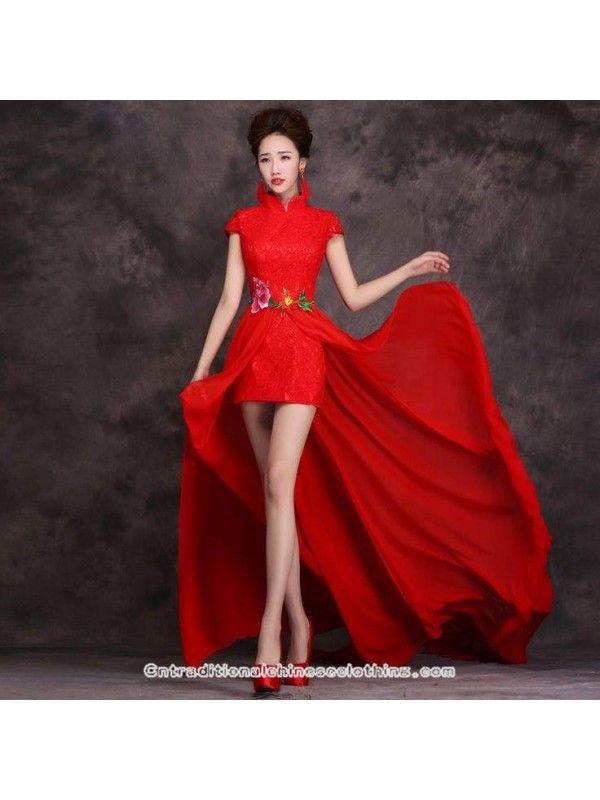 Red Lace Chiffon Dress