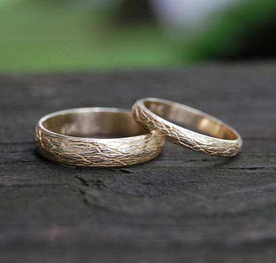 Gold Domed Wedding Bands Matching Wedding Set The Natural Tree Etsy In 2020 Yellow Gold Wedding Band Sets Filigree Wedding Band Alternative Wedding Bands