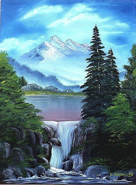 Waterfall Pines Waterfall Paintings Landscape Paintings
