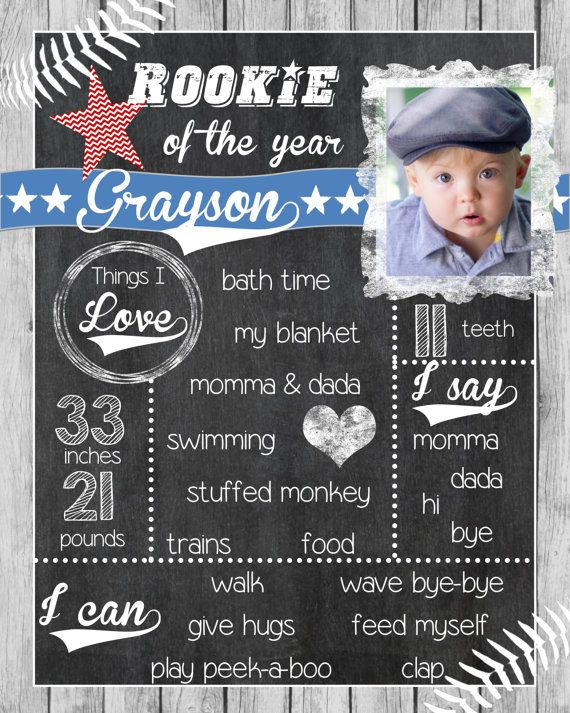 Rookie Of The Year Birthday Chalkboard Sign First Birthday Etsy Birthday Chalkboard Sign First Birthday Sign Birthday Chalkboard