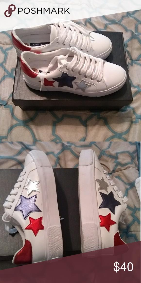 38e678e0892473 Tommy Hilfiger platform sneakers White stack platform sneakers with red  silver and blue stars on the side. Tommy Hilfiger Shoes Platforms
