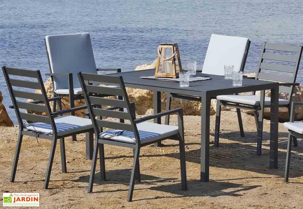 Salon de Jardin en Aluminium Anthracite : 6 Fauteuils et 1 Table à ...