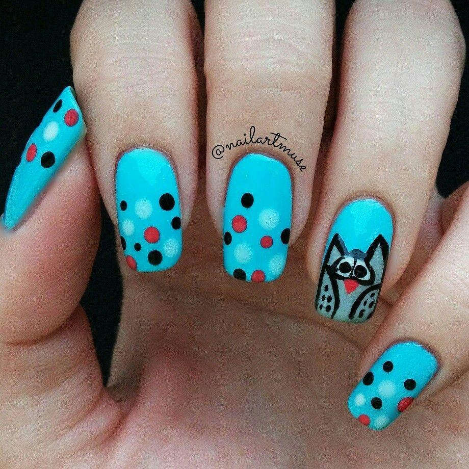 Owl nail art!! #nails #owls #blue #naturalnails #dotticure ...