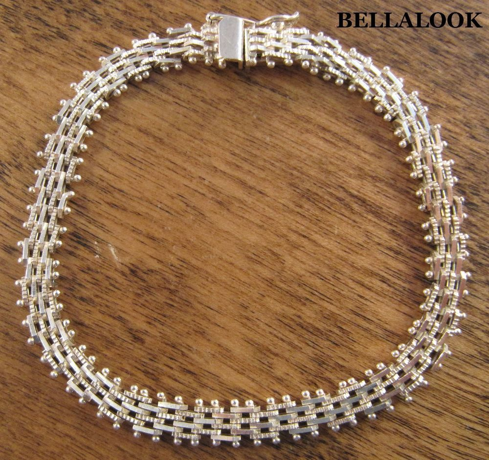 """6mm 7.25"""" MARKED 925 PREMEX MP76 STERLING SILVER RICCIO CHAIN BRACELET 10.2g #MEXICANSILVER #BELLALOOK"""