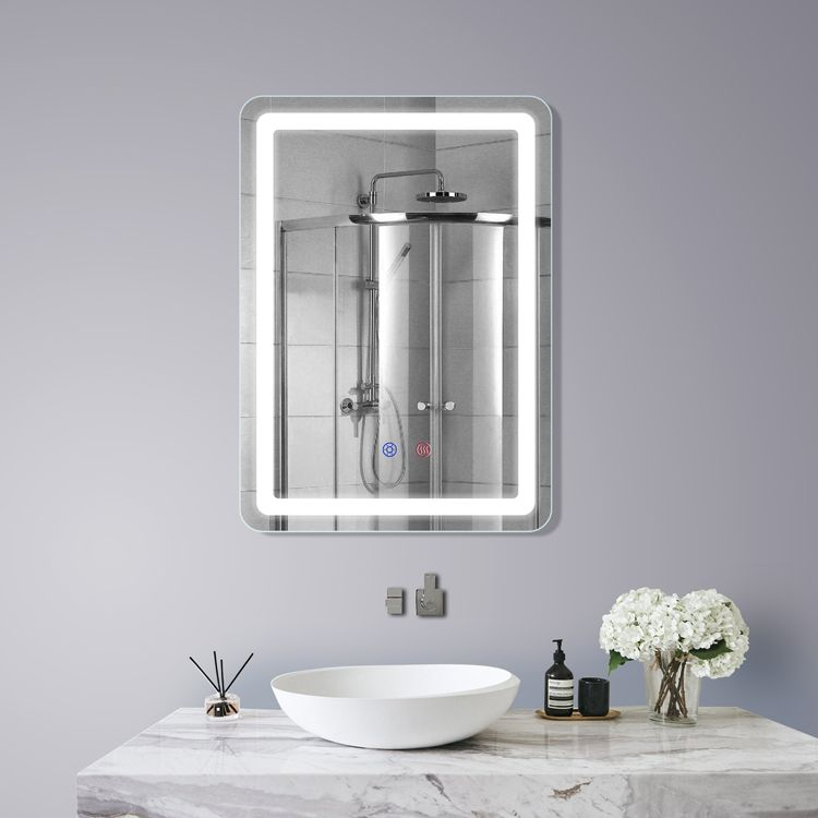 Dp339a Model Led Bathroom Mirror Size 50 70cm Smart Touch Three Color Lights Anti Fog Abs Frame Oem Odm Design Available