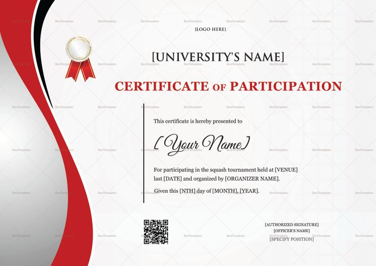Squash Certificate Template Participation Certificates Templates - certificate of participation template word