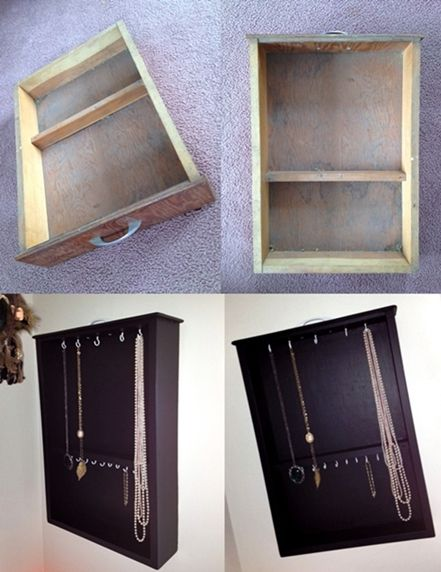 Old drawer transformed into a jewelry closet..