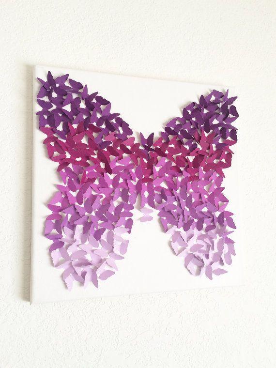 Lavender Purple Butterflies Canvas Art Room Decor Wall Hanging ...