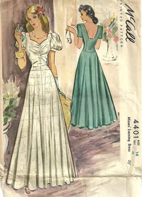 McCall 4401 Vintage 40s Sewing Pattern Evening Dress Gown Size 14 ...