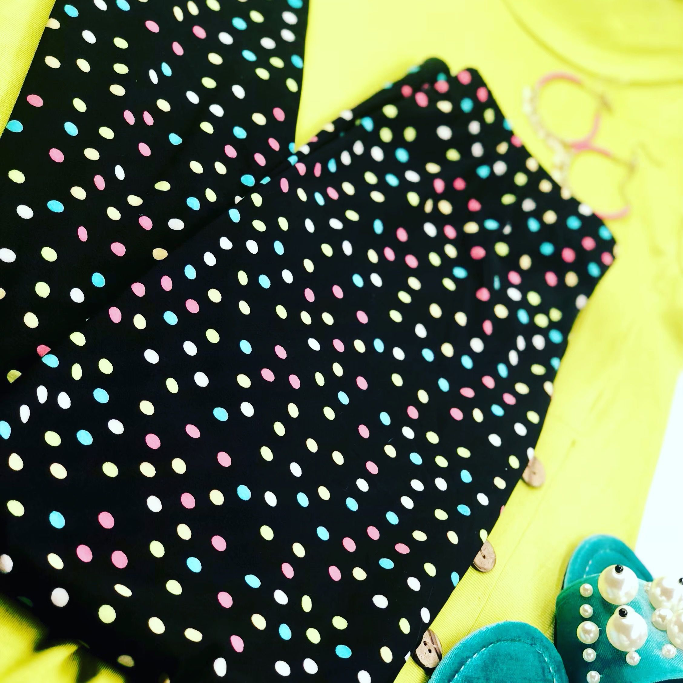 e9ec704d71088 Pink, blue, yellow, and lime green polka dots printed buttery soft, high  waisted Dream Leggings.