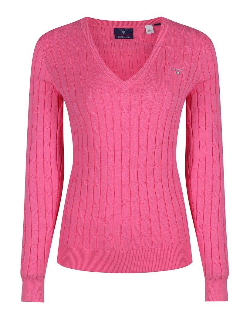 Gant Women's Stretch Cotton Cable V-Neck Jumper - Lipstick Pink ...