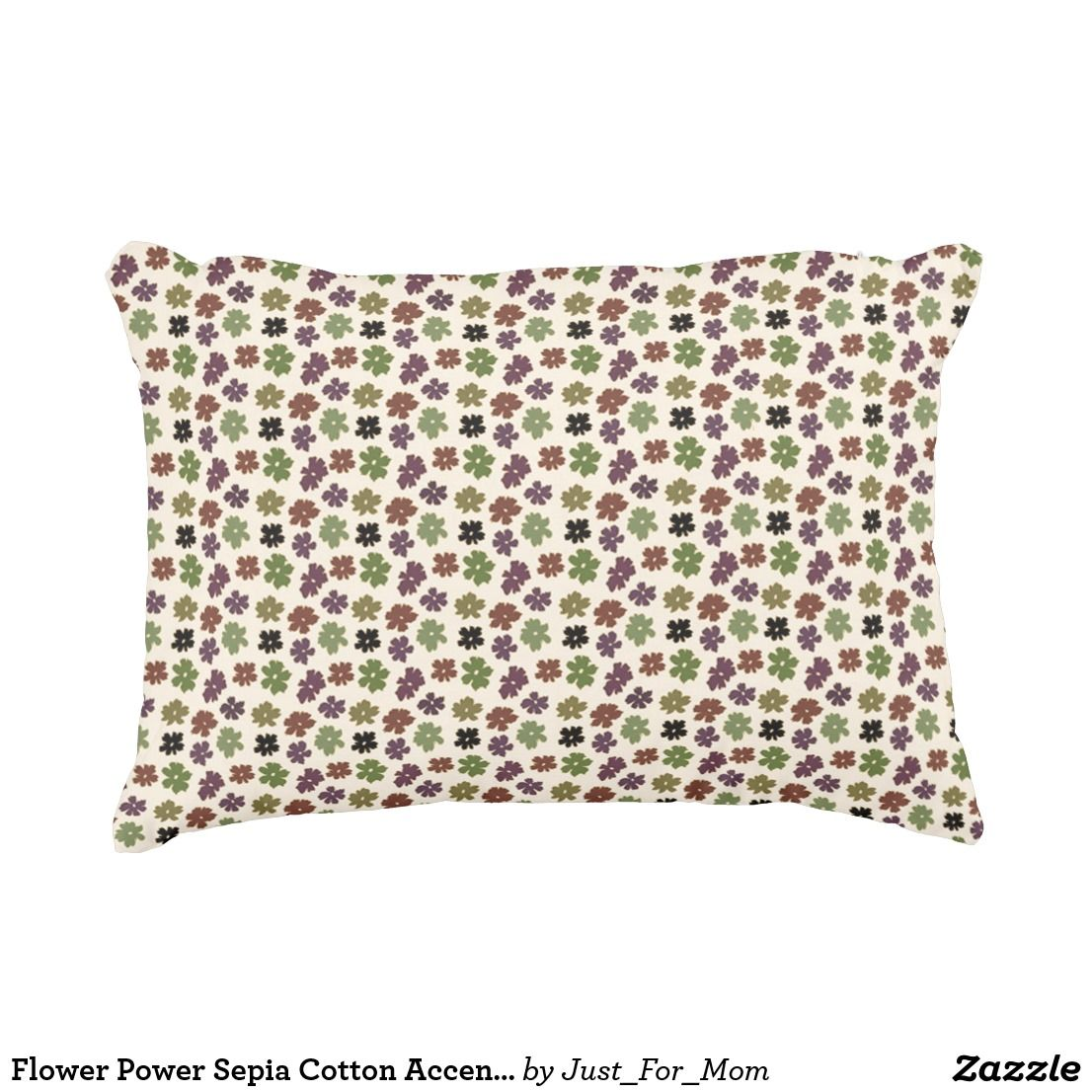 Flower Power Sepia Cotton Accent Pillow by Janz