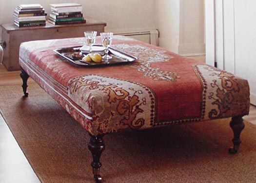 Another Ottoman Covered With A Vintage Oriental Rug It Functions