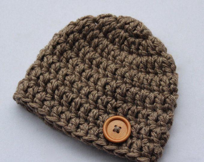 Newborn chunky crochet natural beanie hat, baby hat, baby shower ...