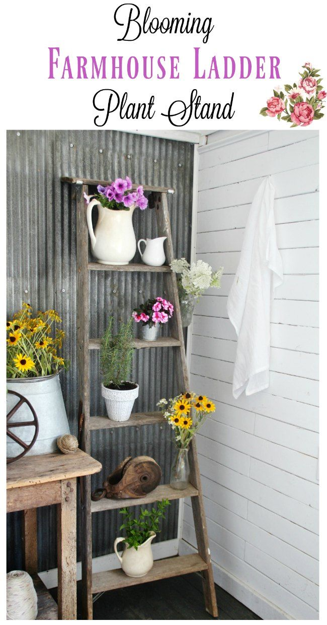 Farmhouse Style Plant Stand : farmhouse, style, plant, stand, Ladder, Plant, Stand, Blooming, Guest, Front, Porch, Decorating,, Farmhouse