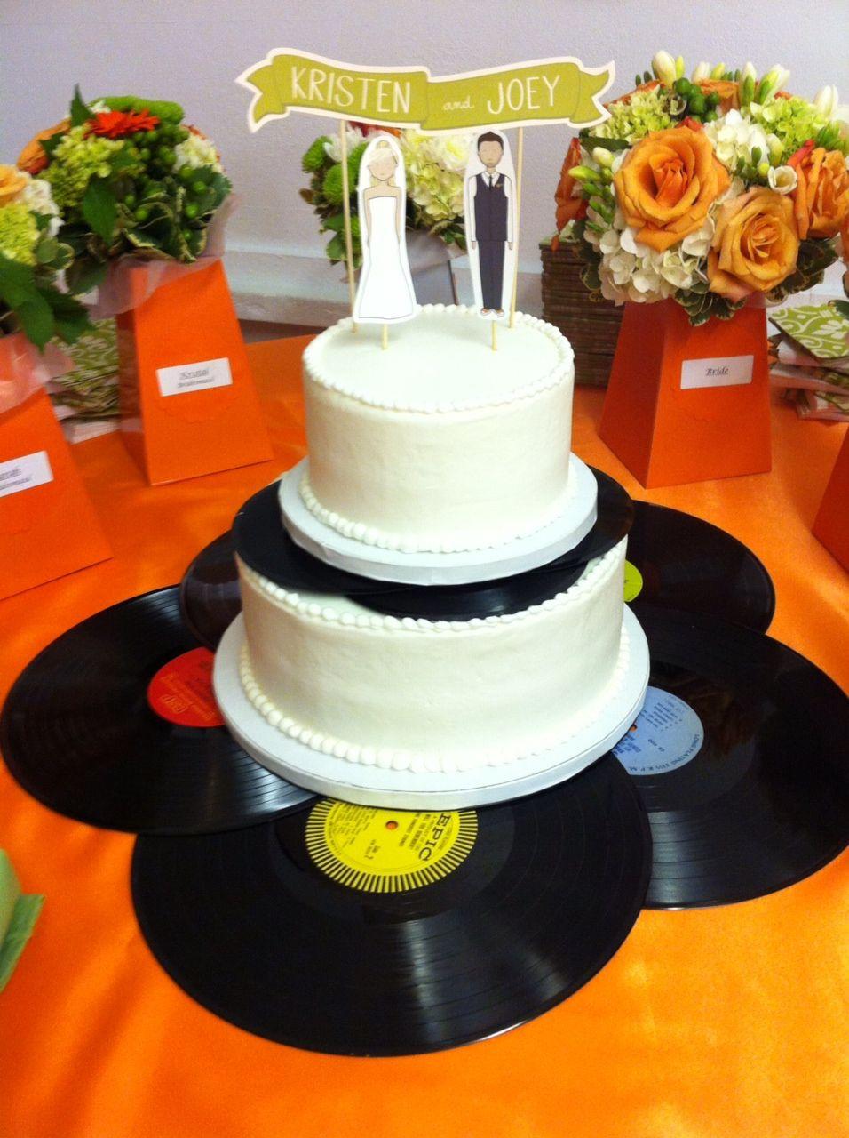shabby chic bridal shower cakes%0A Wedding cake vinyl records etsy banner topper