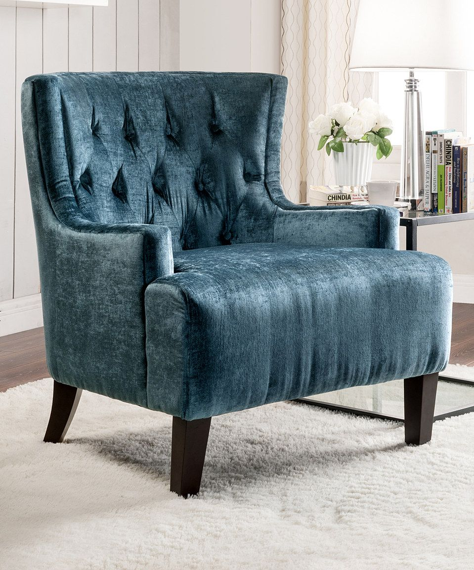 Another great find on #zulily! Teal Button-Tufted Iconic Accent ...