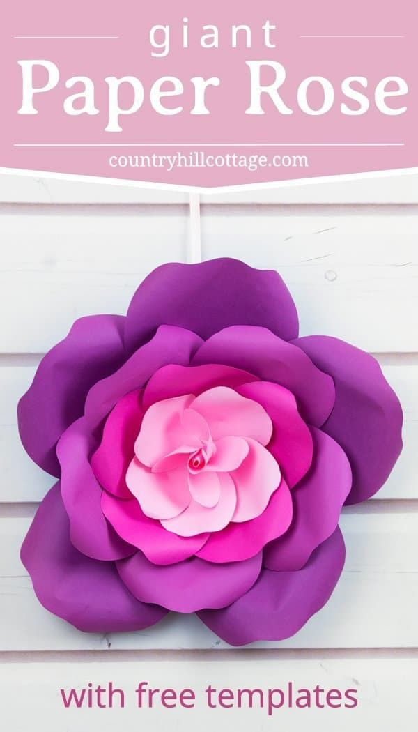 Learn to make Giant Paper Roses in 5 Easy Steps and get a free template #largepaperflowers