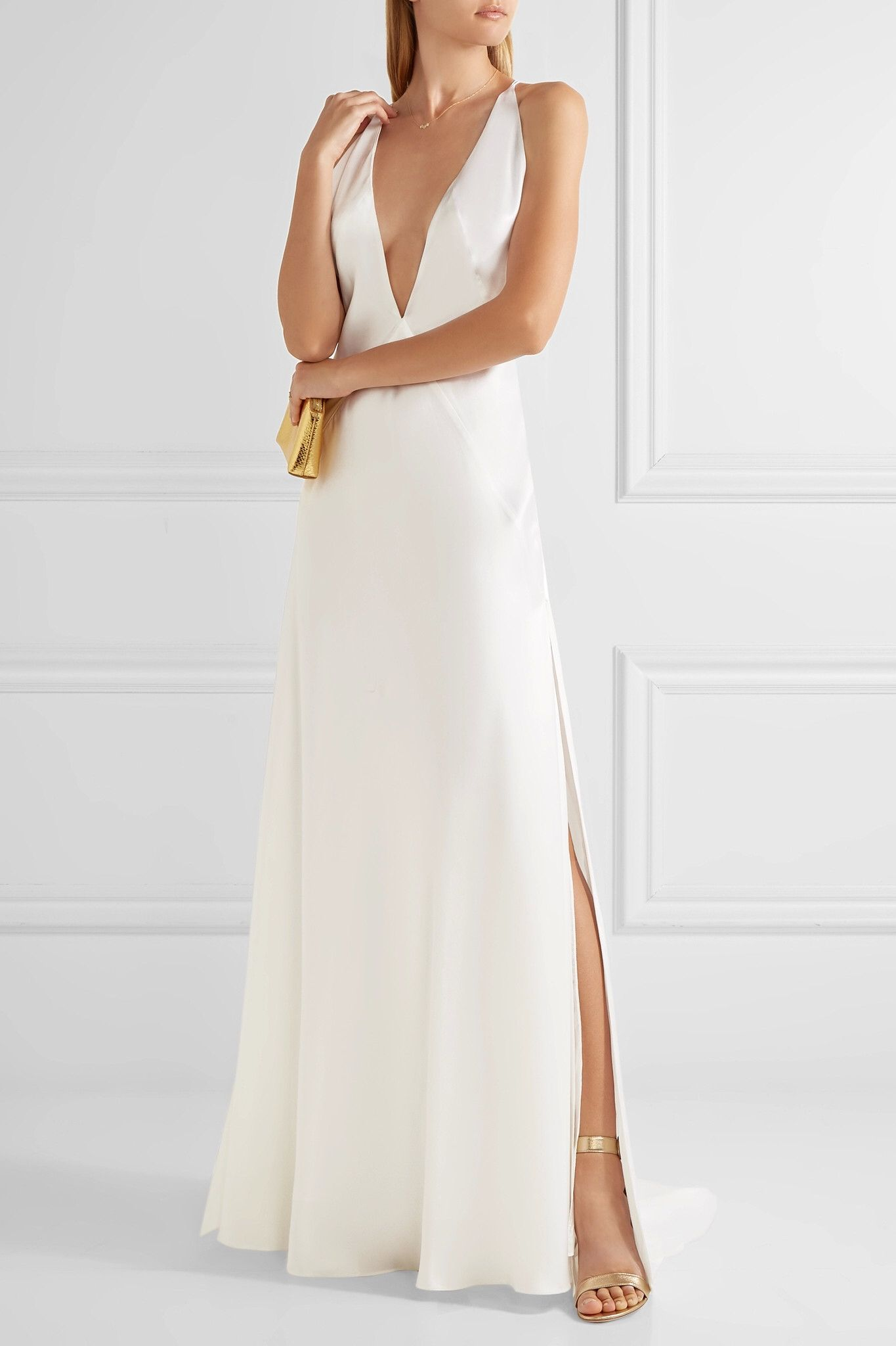 Alexandra Silk-satin Gown - White Michael Lo Sordo