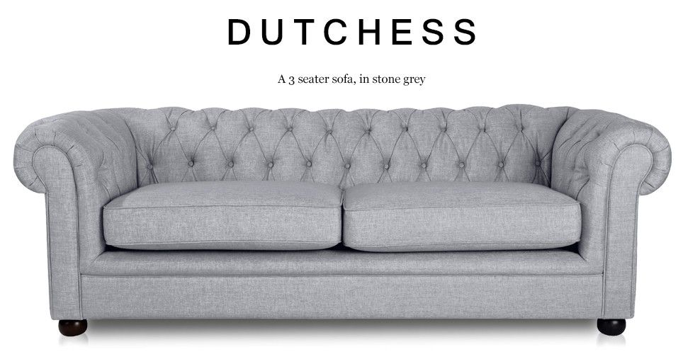 Madrid Taupe Beige Ultra Modern Living Room Furniture 3: Dutchess 3 Seater Chesterfield Fabric Sofa, Stone Grey