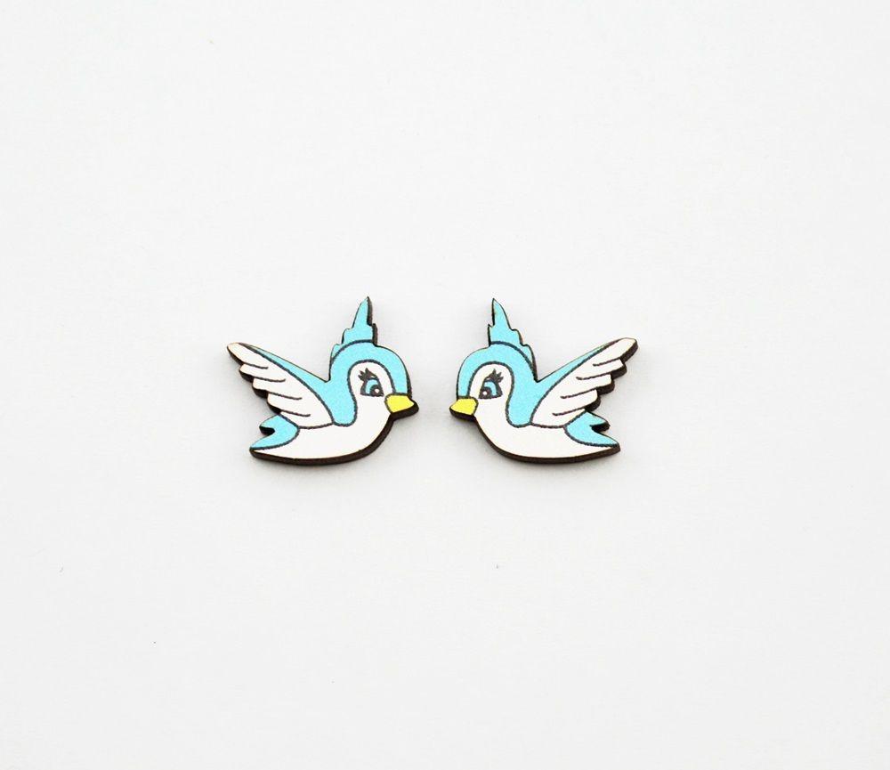 Disney style bird stud earrings