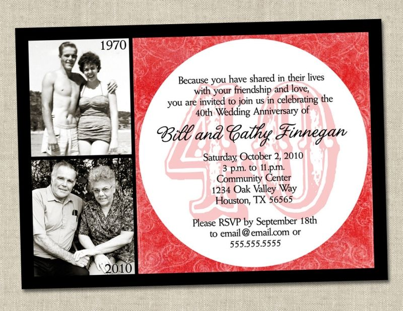 40th Anniversary Invitations Templates