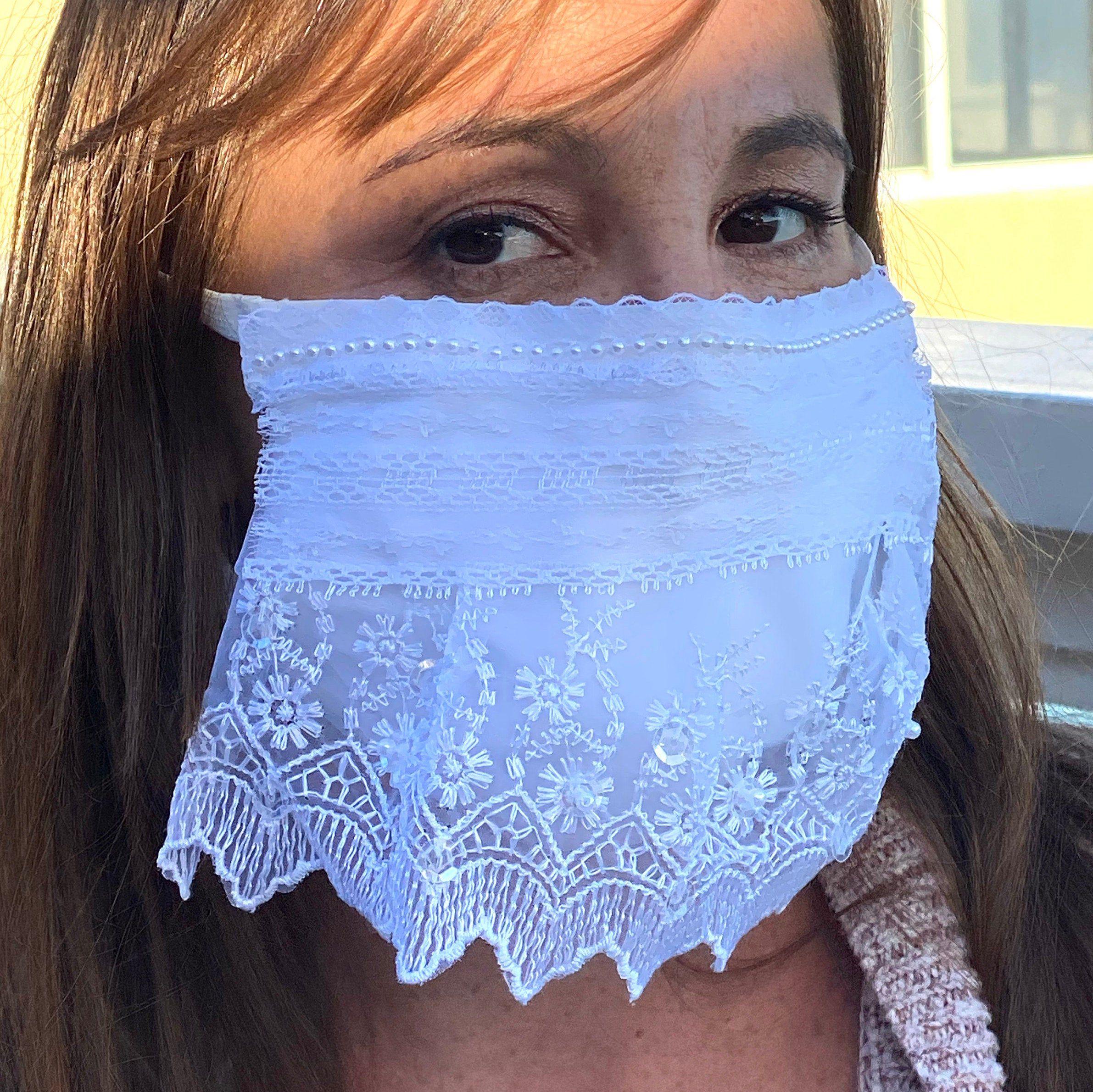 Bridal Mask Veil White Lace Mask Wedding Mask Bridal Face ...