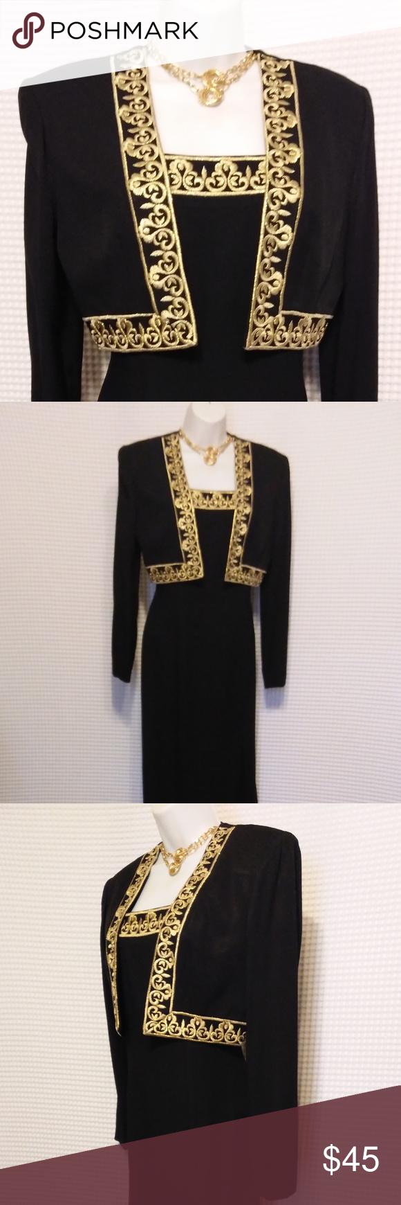 Closet Closing Black Gold 2 Pc Bolero Maxi Dress Maxi Tank Dress Fashion Maxi Dress [ 1740 x 580 Pixel ]
