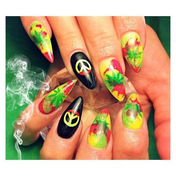 marijuana nails Nail Art Gallery ❤ liked on Polyvore featuring ...