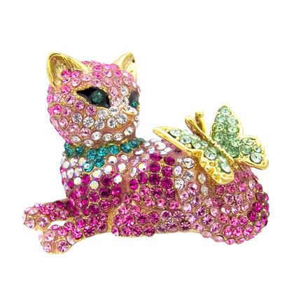 lying down crystal cat and butterfly brooch  animal