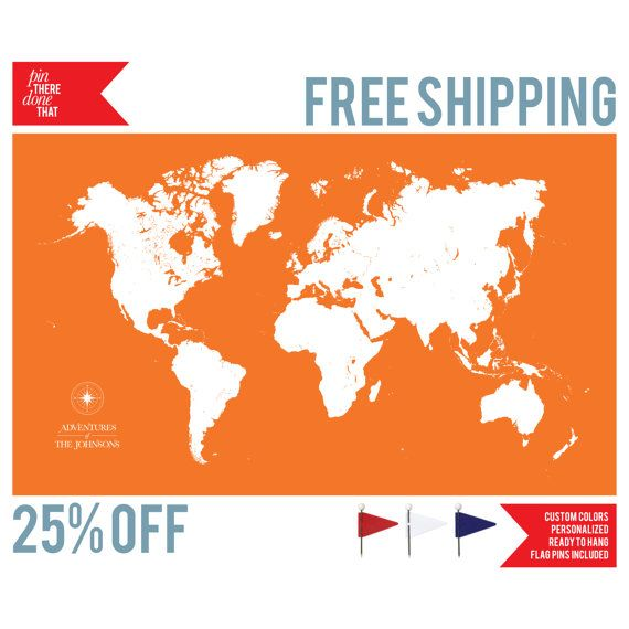 Push pin travel map world map push pin pin map custom map canvas world travel map flag pins included gumiabroncs Images