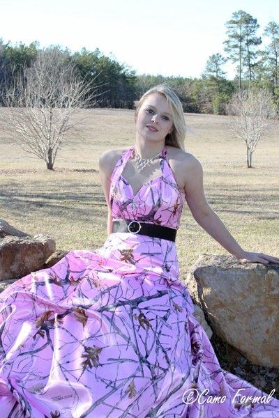 Pink Camo Prom Snowfall Dress With Pickups Camouflage Wedding