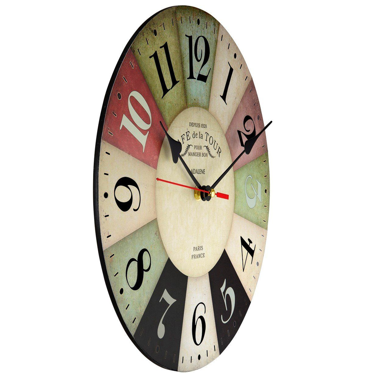 Adalene Wall Clocks Battery Operated Non Ticking 12 Inch Vintage Colorful Wood Wall Clock Silent Analog Quartz Wall Clock Silent Wall Clock Large Wall Clock
