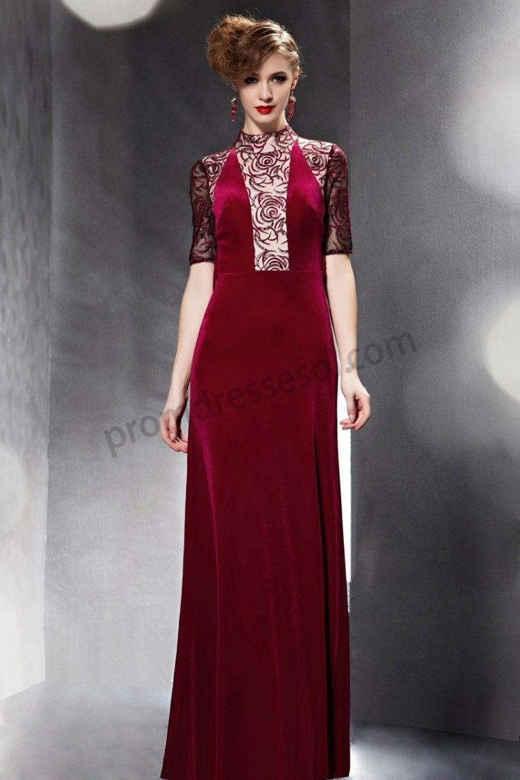 Red high collar lace back half sleeve velvet long dress so