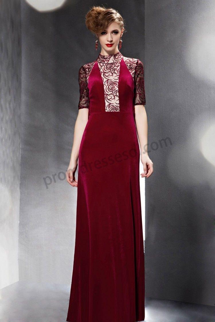 Red high collar lace back half sleeve velvet long dress so