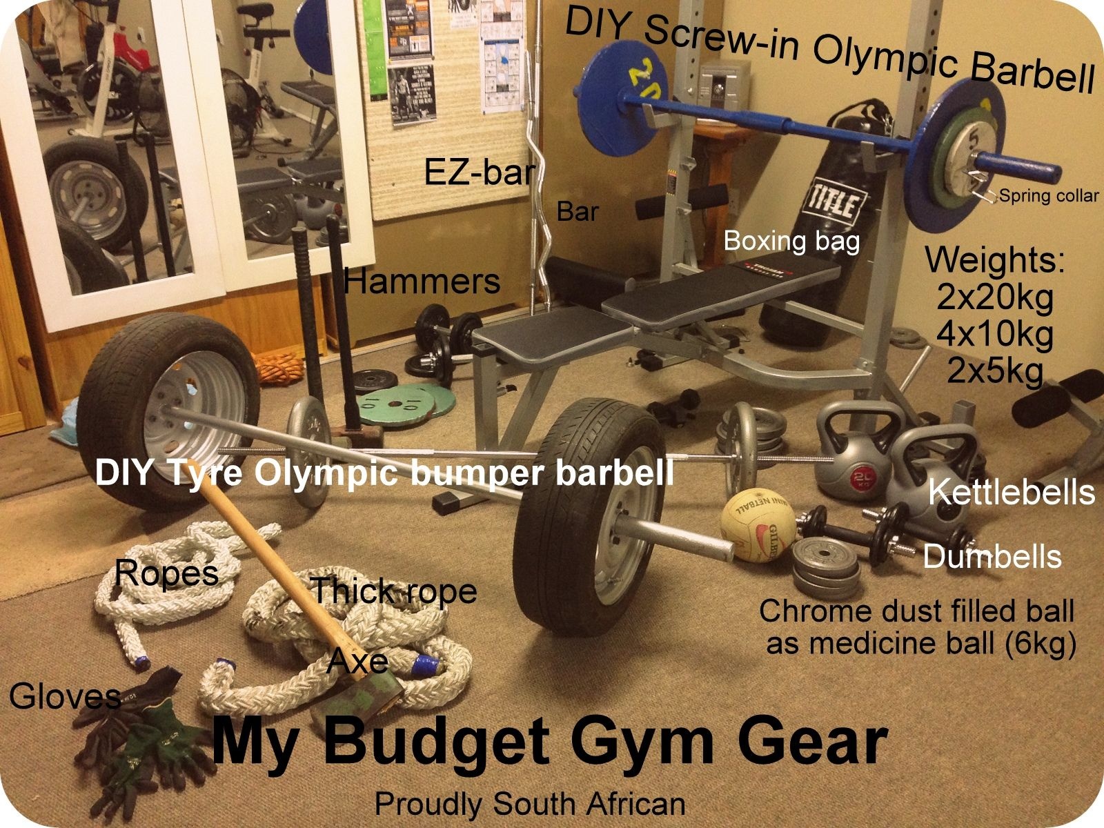 Diy home gym  My Home Gym on a budget. DIY Bumper barbell DIY compact screw-in ...