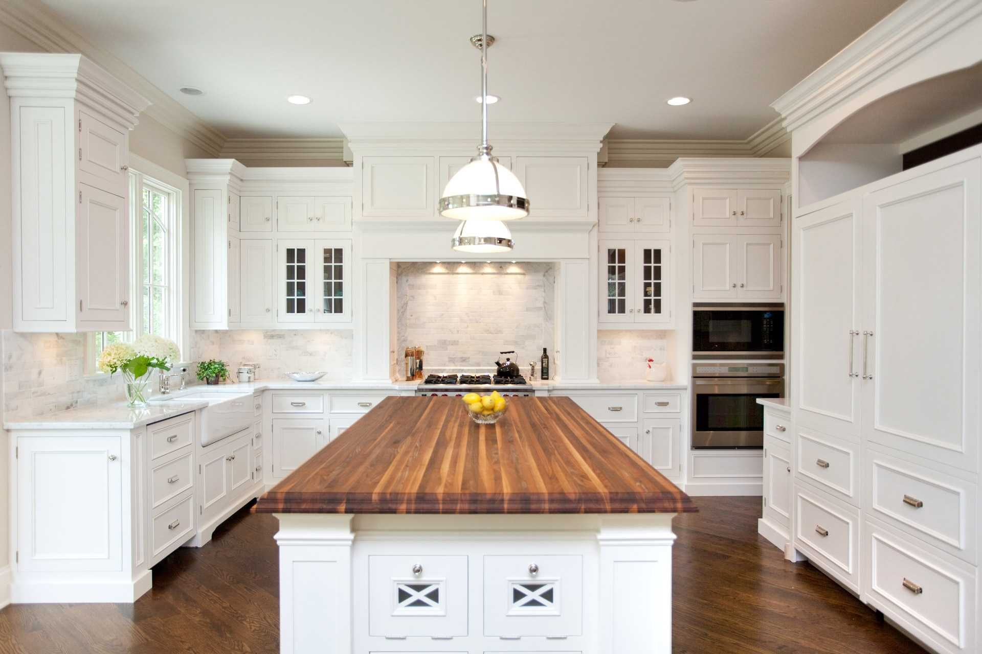 Image result for white kitchen island, butcher block top ...