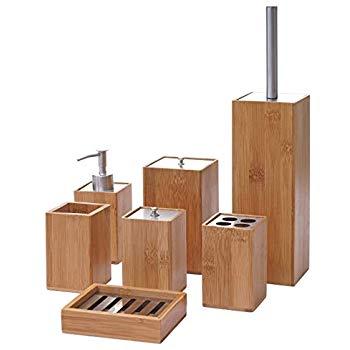 Relaxdays Badezimmer Set 4 Teiliges Badzubehor Aus Keramik Und Bambus Seifenspender Und Zahnputzbecher Natur Weiss Amazon Badezimmer Set Badezimmer Bad Set