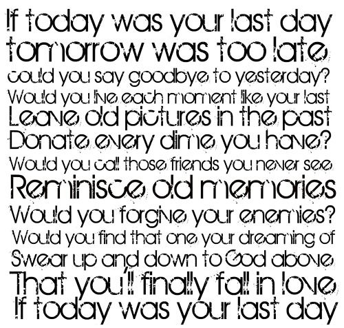Nickelback If Today Was Your Last Day Song words