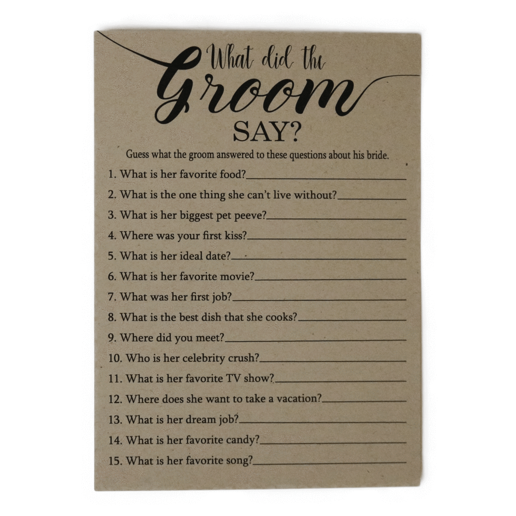 What Did The Groom Say Game Cards