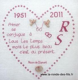 broderie noce de diamant - Recherche Google | Carte anniversaire de mariage, Point de croix ...