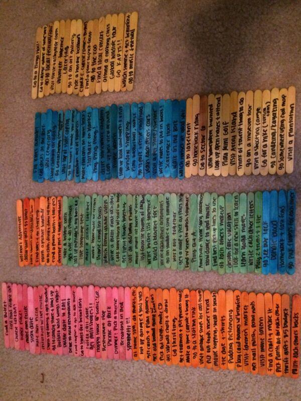 Date Jar Ideas On Popsicle Sticks Diy Gifts For Boyfriend Date Night Jar Boyfriend Gifts