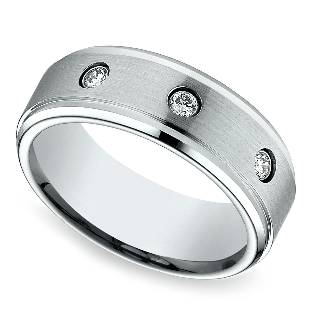 Diamond Bezel Men's Wedding Ring in Cobalt (8mm) Mens