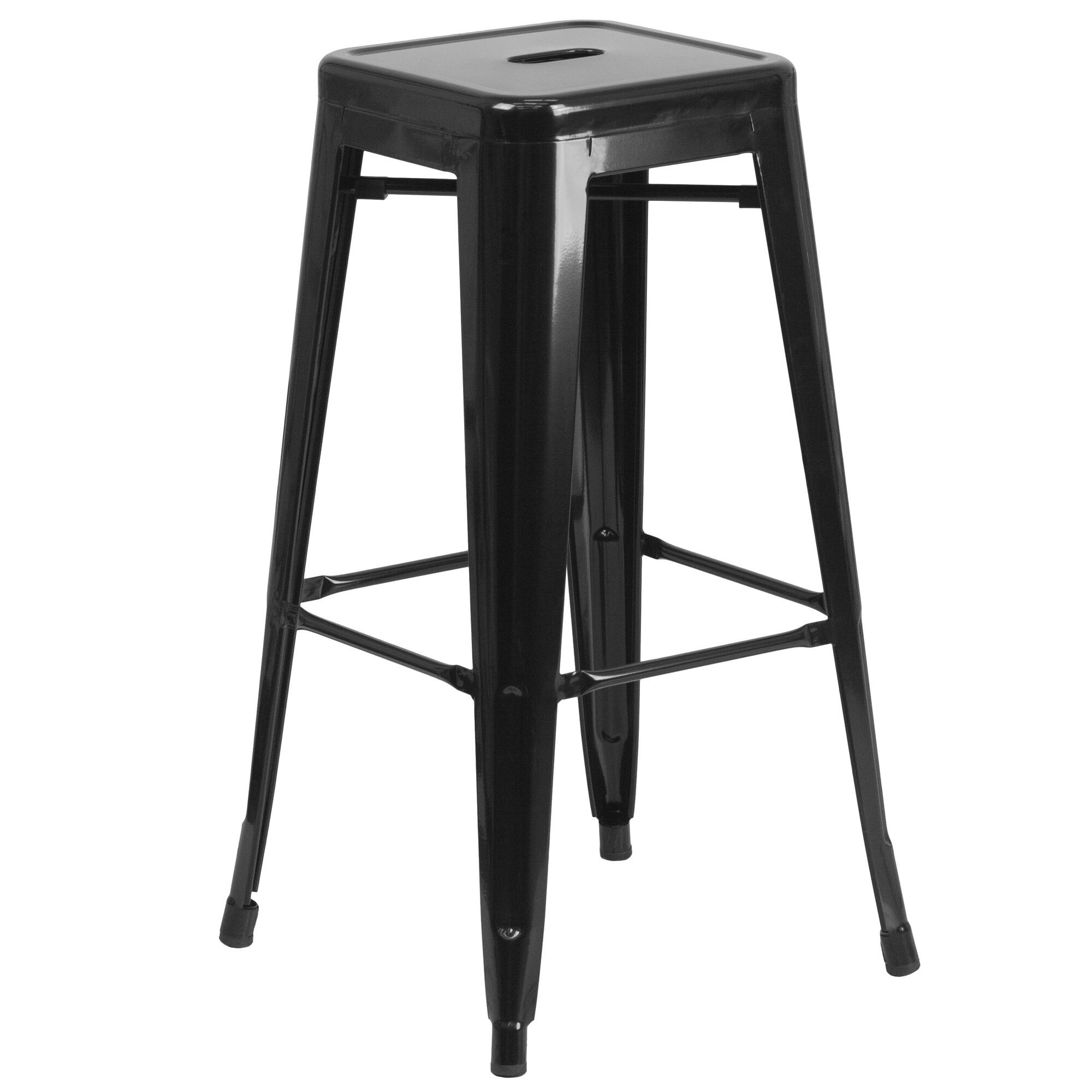 Commercial Grade 30 High Backless Black Metal Indoor Outdoor Barstool With Square Seat In 2020 With Images Backless Bar Stools Metal Bar Stools Patio Bar Stools