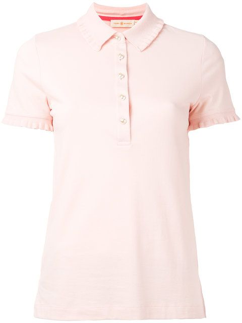 TORY BURCH Ruffle-Trimmed Polo Shirt. #toryburch #cloth #shirt