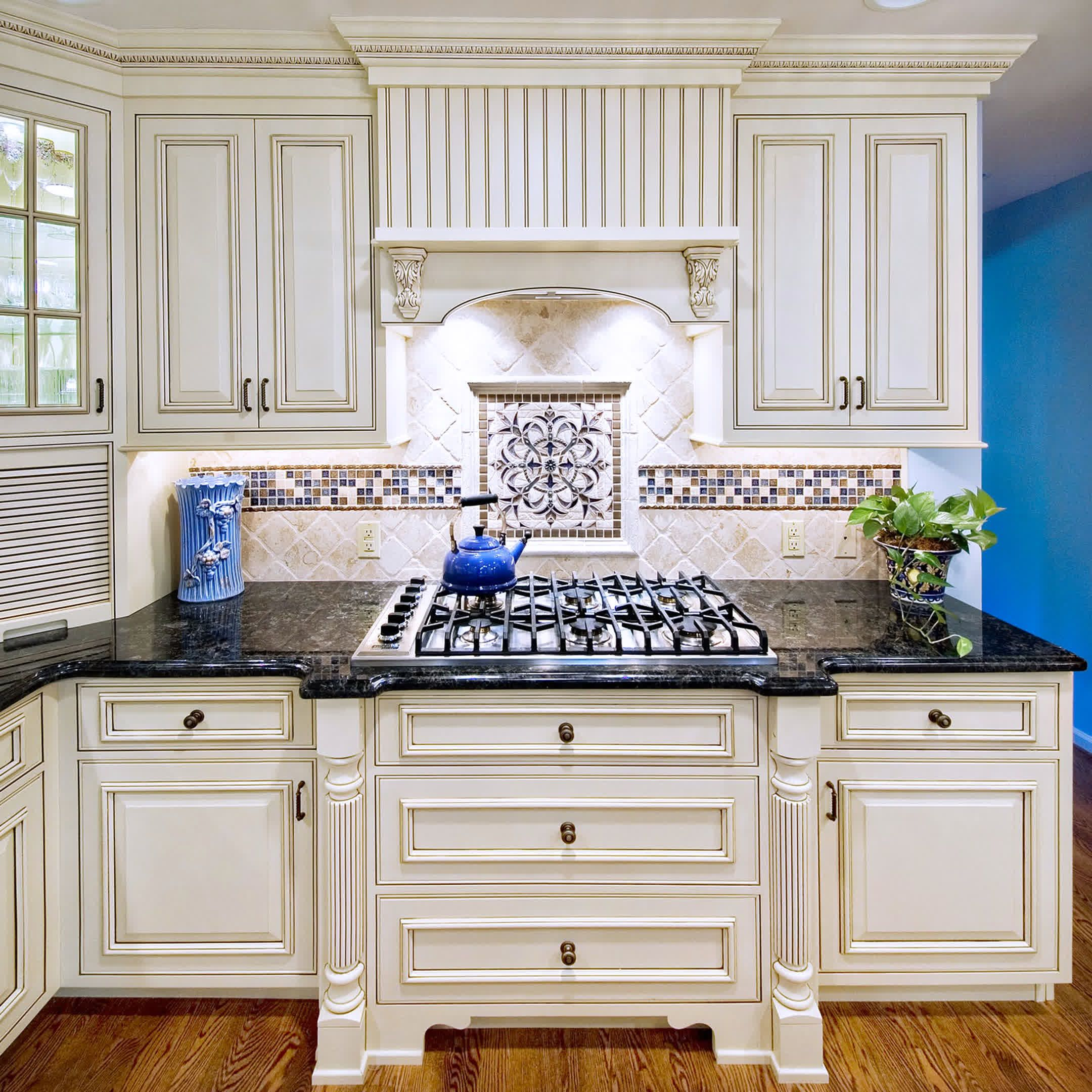 Blue Tile Backsplash Kitchen Renew Cabinets Countertops Ideas