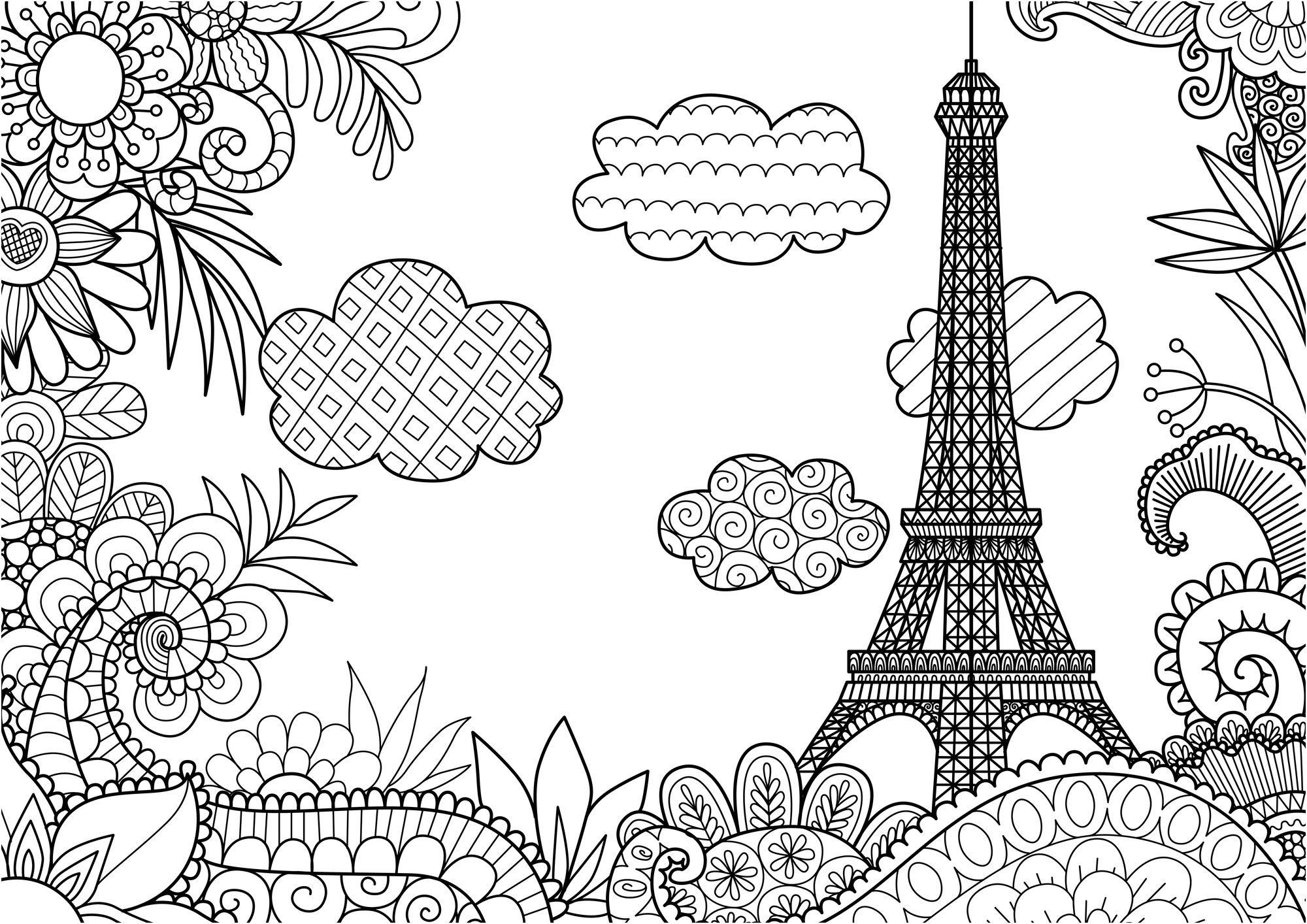 coloriage a imprimer la tour eiffel de paris in 2020 ...