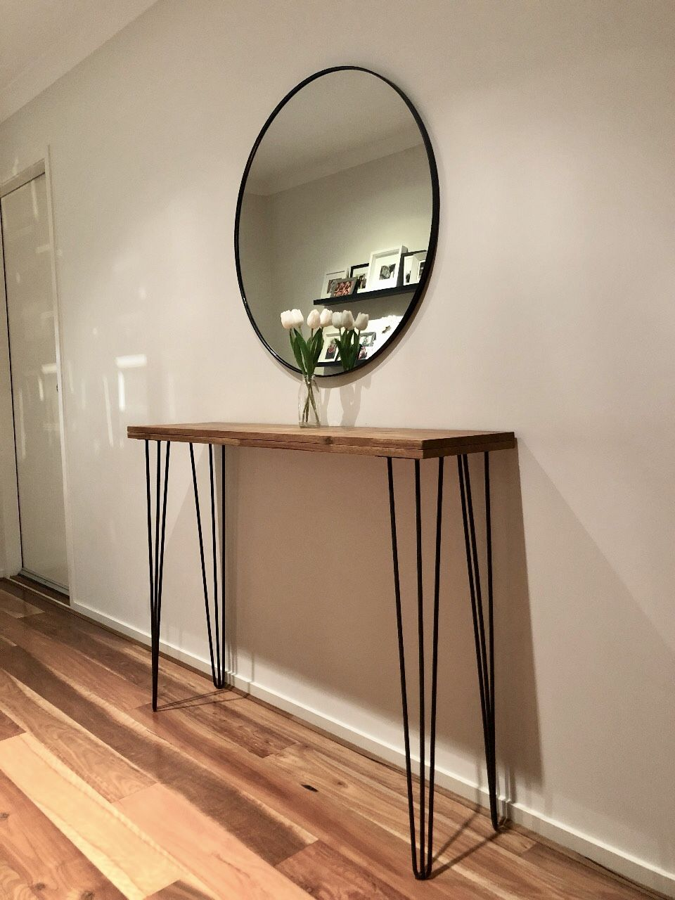 Timber Hairpin Leg Hallway Entry Table With Round Mirror Entry Table Console Table Hallway Modern Entry Table